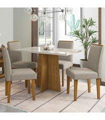 mesa de jantar 4 lugares ana 1213 100% mdf ypê/off white - new ceval