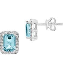 14k white gold, aquamarine & diamond earrings