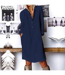 zanzea mujer de manga larga casual llanura de la blusa de botones de cuello largo flojo de la camisa de vestido más del tamaño -azul marino