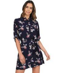 vestido camisero corto estampado flores azul 157018 charby