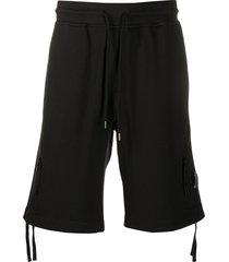 cp company zipped pocket track shorts - black