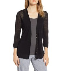 petite women's nic+zoe back of the chair cardigan, size x-small p - black