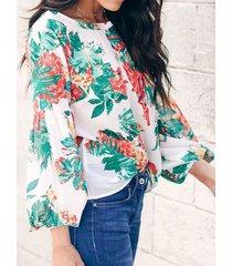 camicetta allentata manica lunga tonda stampata floreale casual collo
