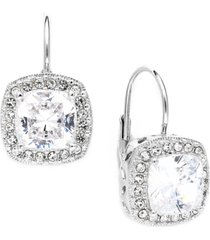 eliot danori silver-tone framed cushion cut cubic zirconia leverback earrings (6 ct. t.w.), created for macy's