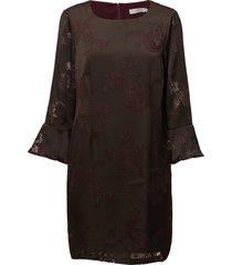 dress w. sleeve ruffle burn-out kort klänning brun coster copenhagen