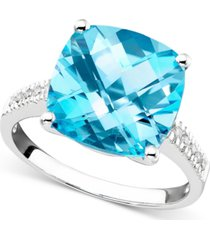 14k white gold ring, blue topaz (7-3/4 ct. t.w.) and diamond accent ring