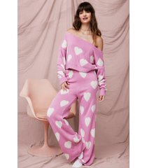 womens you've got the love sweater and pants pajama set - pink