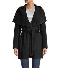 tahari women's marilyn double-face wool-blend coat - black - size m