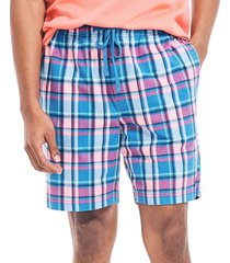 nautica men's blue and pink plaid pajama shorts