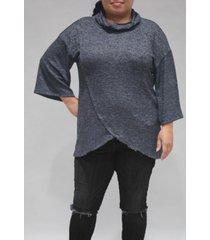 coin 1804 women's plus size 3/4 sleeve surplice cowl neck top