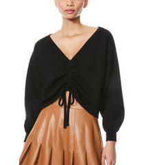 alice + olivia nora reversible drawcord ruched sweater, size x-large in black at nordstrom