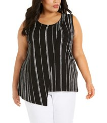 alfani plus size printed asymmetrical cross top, created for macy's
