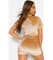 velours glow mini jurk met steentjes en drukknopjes, champagne