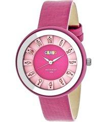 crayo unisex celebration hot pink genuine leather strap watch 38mm