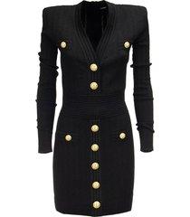 balmain short knitted dress with gold buttons