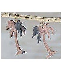 ebony wood dangle earrings, 'coconut tree' (ghana)
