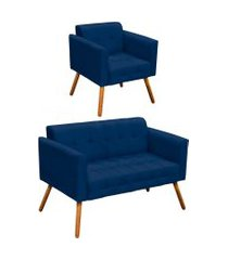 conjunto sofá retrô 2 lugares e 01 poltrona elisa suede azul marinho - d'rossi