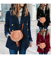women's vintage lapel trench coat double breasted wool jacket