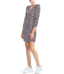 maje women's ripanta leopard print mini dress - pink - size 36 (4)