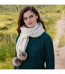 natural aran bobble scarf
