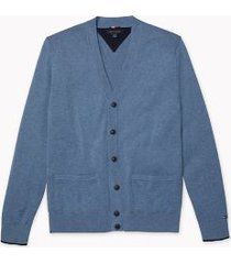 tommy hilfiger men's adaptive contrast tipped cardigan marching blue/sky captain - xl