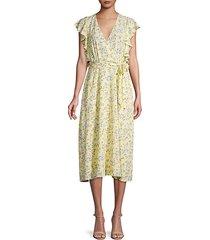 floral ruffle faux wrap dress