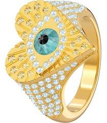 anillo con motivo lucky goddess heart, multicolor, baño de oro