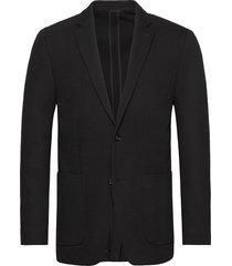 double knit structure blazer blazer colbert zwart calvin klein