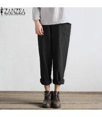 s-5xl zanzea mujeres ocasionales retro harem bolsillos étnicas pantalones anchos plus -negro