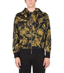 versace jeans couture sweatshirt with regalia print bijoux print with hood