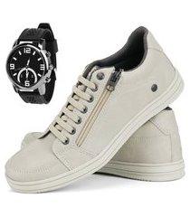 sapatênis cr shoes casual rebento com cadarço elástico e zíper bege com relógio