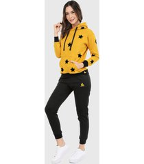 sudadera para mujer conjunto hoodie mostaza con estrellas