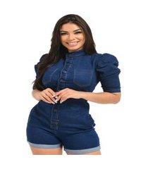 macacão jardineira jeans feminino curto com manga bufante o rei do brás