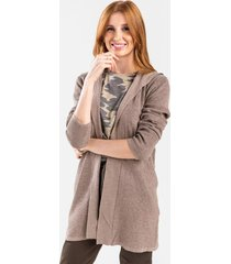 anessai waffle knit hoodie cardigan - taupe