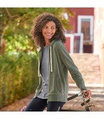 sundance catalog women's aurelie heathered hoodie in olivehthr small