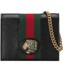 women's gucci rajah calfskin leather card case on a chain -