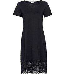 jersey jurk met kant, zwart 36/38
