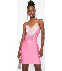 akira corset detail diamond fringe bandage mini dress