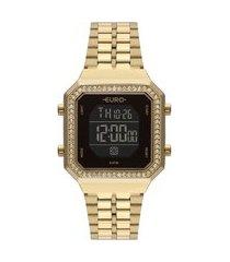 relógio feminino euro digital - eubjk032ab4p dourado