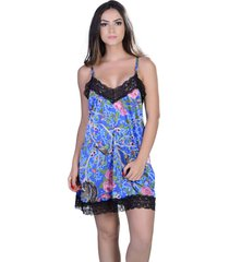 camisola curta  yasmin lingerie silk satin floral/azul - azul - feminino - dafiti