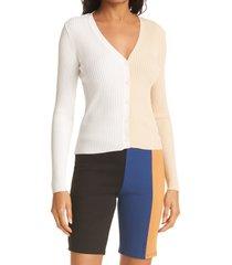 women's staud cargo colorblock sweater, size large - beige