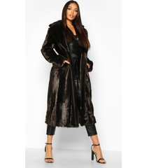 lange vintage faux fur jas, bruin