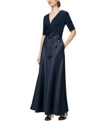 alex evenings petite mixed-media gown