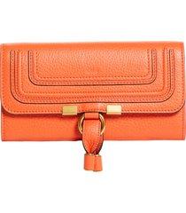 chloe marcie leather flap wallet in radiant orange at nordstrom