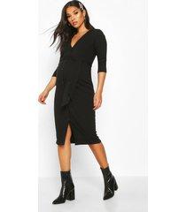 maternity button front tie waist rib midi dress, black