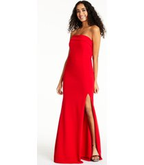 crystal doll juniors' strapless slit dress