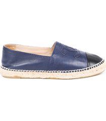 chanel blue black leather cc cap toe espadrilles black sz: 10