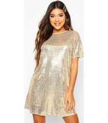 boutique t-shirt jurk met pailletten, goud