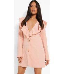 petite blazer jurk met ruches, rose