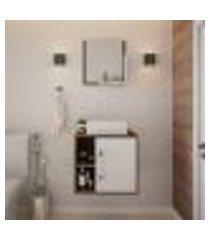 conjunto para banheiro gabinete com cuba q32 e espelheira soft 500 nogal com branco